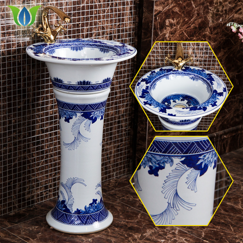 Blue and white porcelain ceramic pedestal basin integrated health bath wash basin sink bathroom sink bathroom floor balcony