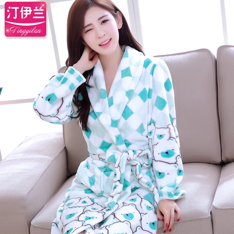 Blue green autumn and winter thick flannel cute little cartoon bear long sleeve ms. coral velvet robe bathrobe female