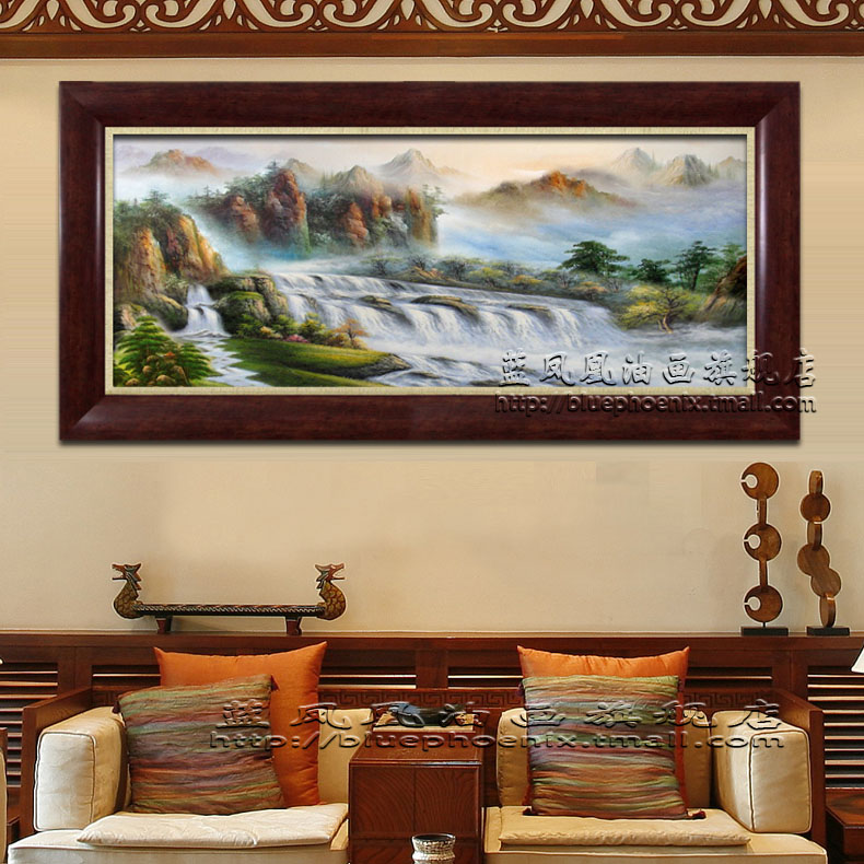Blue hand painted oil painting home office lobby living room villa phoenix mountains northeast knife painting decorative painting framed a9