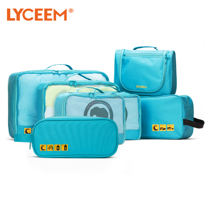 Blue orange travel pouch waterproof clothing storage consolidation bags travel travel portable travel kit qi jiantao