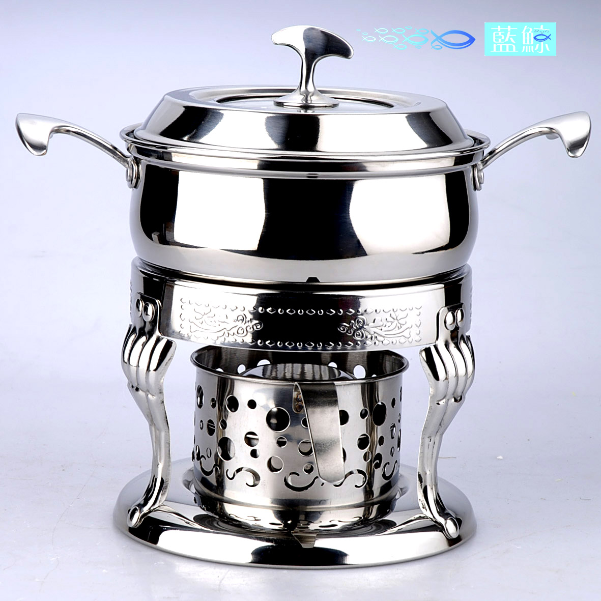 Blue whale euclidian binaural thick stainless steel liquid alcohol stove small pot personal help restaurant shop with a large size
