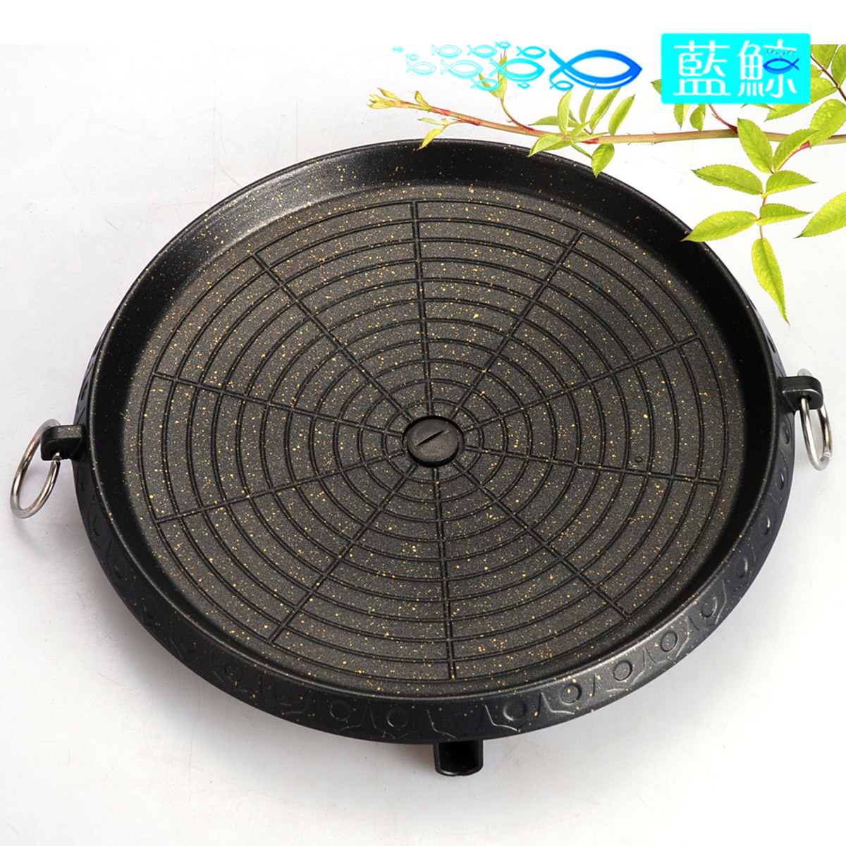 Blue whale round korean bbq grill outdoor portable cooker hotplate oil spill double nonstick grill pan korean barbecue dish pan