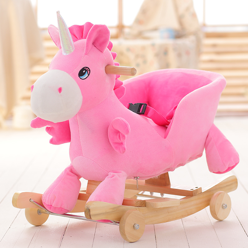 Bluefish small pegasus children wooden trojan horse rocking horse rocking horse with music baby educational toys birthday gift children's day