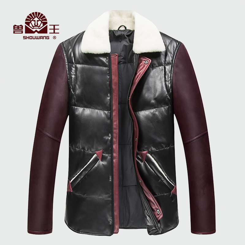Bm 2016 new winter lambs wool lapel leather leather leather haining leather sheep skin leather leather jackets for men