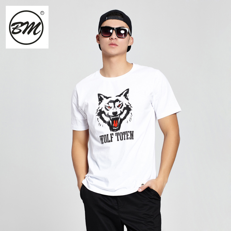 Bm-star big yards tide brand men short sleeve t-shirt wolf totem domineering personality fashion printing sleeve male large yards