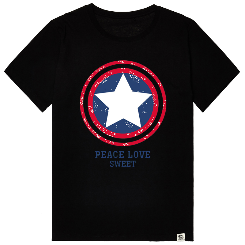 Bm-star captain america star printed t-shirt men short sleeve summer big yards sleeve tide brand men plus fertilizer xl