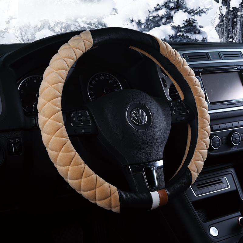 Bmw mini mini cooper countryman one black and white plaid winter plush steering wheel cover