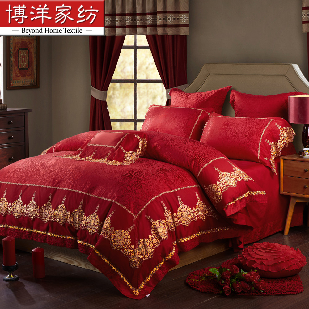 Bo yang textile jacquard wedding qi jiantao big red wedding wedding wedding pieces of sets of bedding linen quilt 1.51.8m