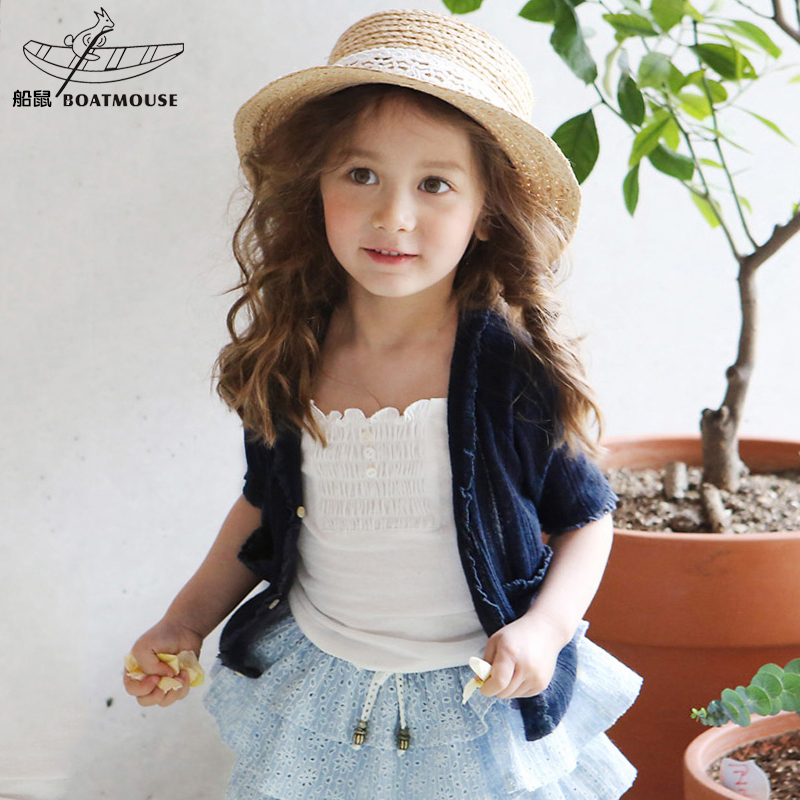 Boat rat kids children's clothes summer 2016 korean version of the thin section breathable knit cardigan coat female baby girls