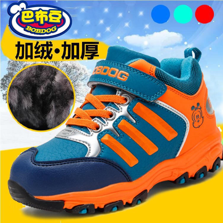 Bob dog boys padded genuine new winter sports shoes plus velvet warm wool lace fashion children's shoes large cotton shoes