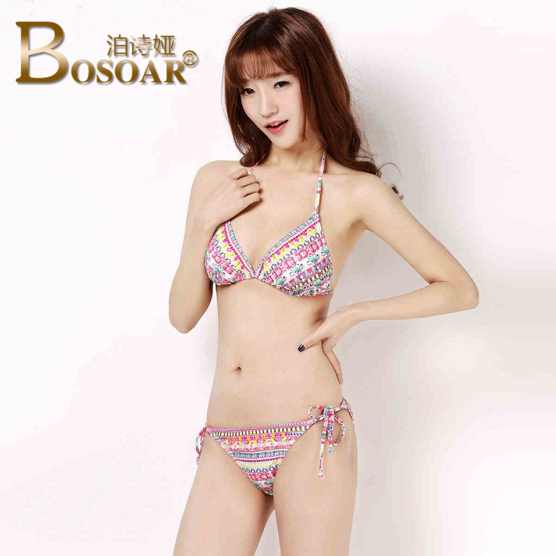 076abf5885251 Get Quotations · Bosoar 2016 summer new sexy triangle bikini swimwear women  gather small chest comfortable printing