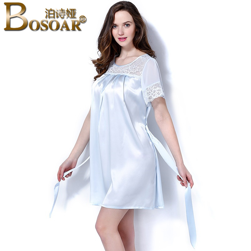 Bosoar summer new fashion sexy ladies short sleeve silk nightgown lace short sleeve pajamas temperament skirt home