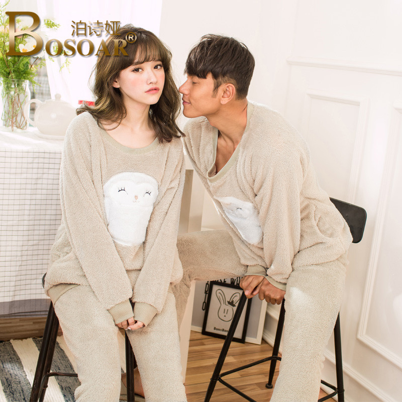 Bosoar2016 couple new fashion minimalist cartoon autumn and winter thick warm pajamas suit tracksuit
