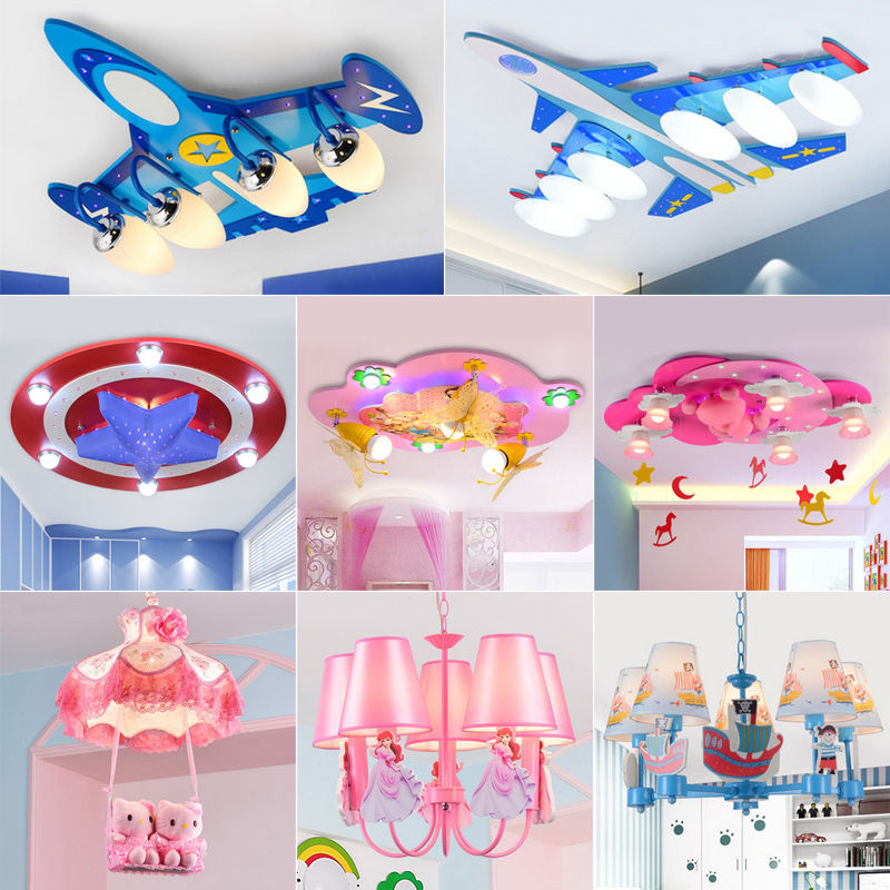 Boy children's room lamp ceiling fixtures led bedroom creative cartoon girl room lighting lamps light aircraft