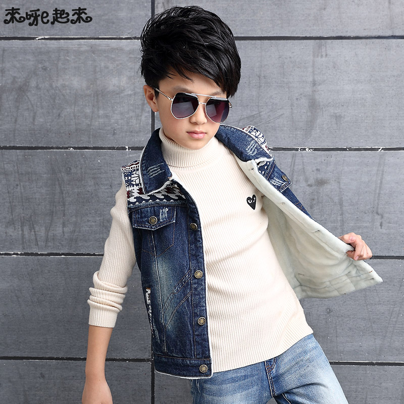 Boy jeans plus velvet vest vest kids 2016 winter new big virgin child thick denim vest