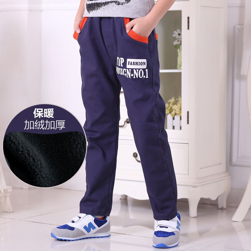 Boy thick cotton casual pants children pants big boys and children new winter plus velvet trousers casual pants