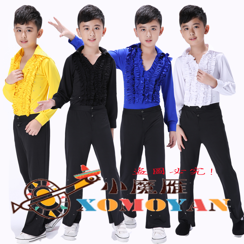 Boys latin dance latin dance clothing children dance clothes for boys and girls academy of dance ballet clothes and long sleeves performance clothing