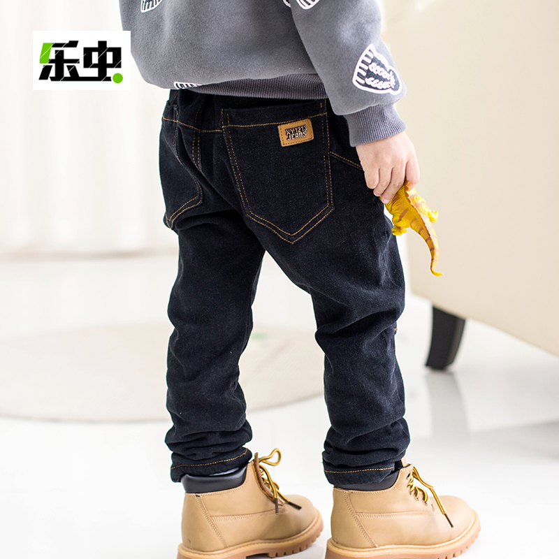 Boys plus velvet jeans trousers fall and winter children thickening male baby 2016 korean version of casual trousers winter models children