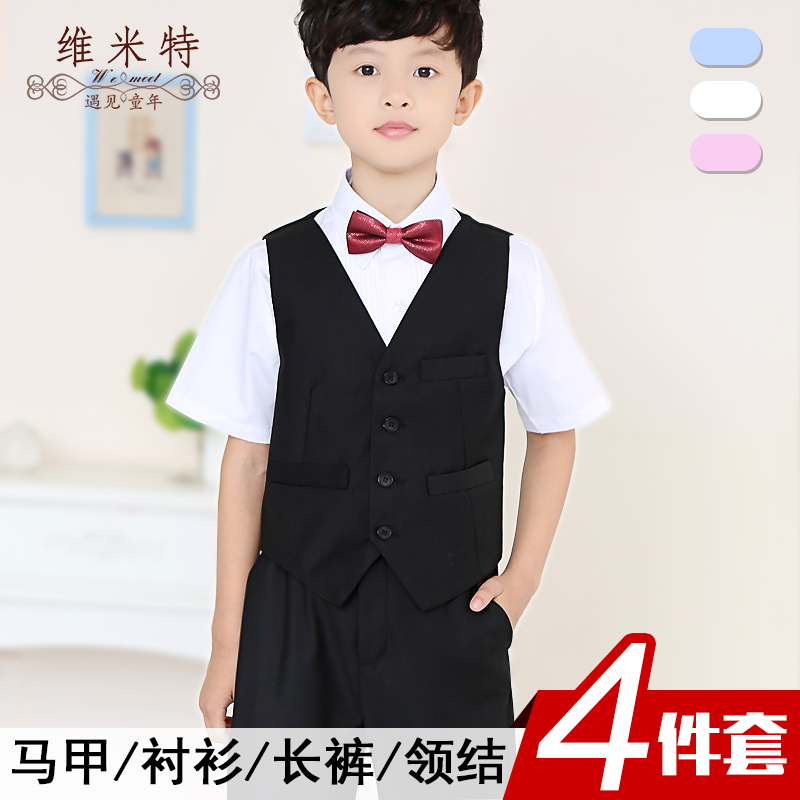 Boys short sleeve shirt plain black vest suit pants suit children's summer shirt dress children act out clothes