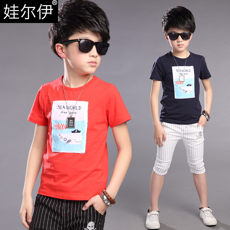 Boys short sleeve t-shirt cotton t-shirt 2016 new 12 south korea 15 summer 9 children's summer and autumn big virgin clothes