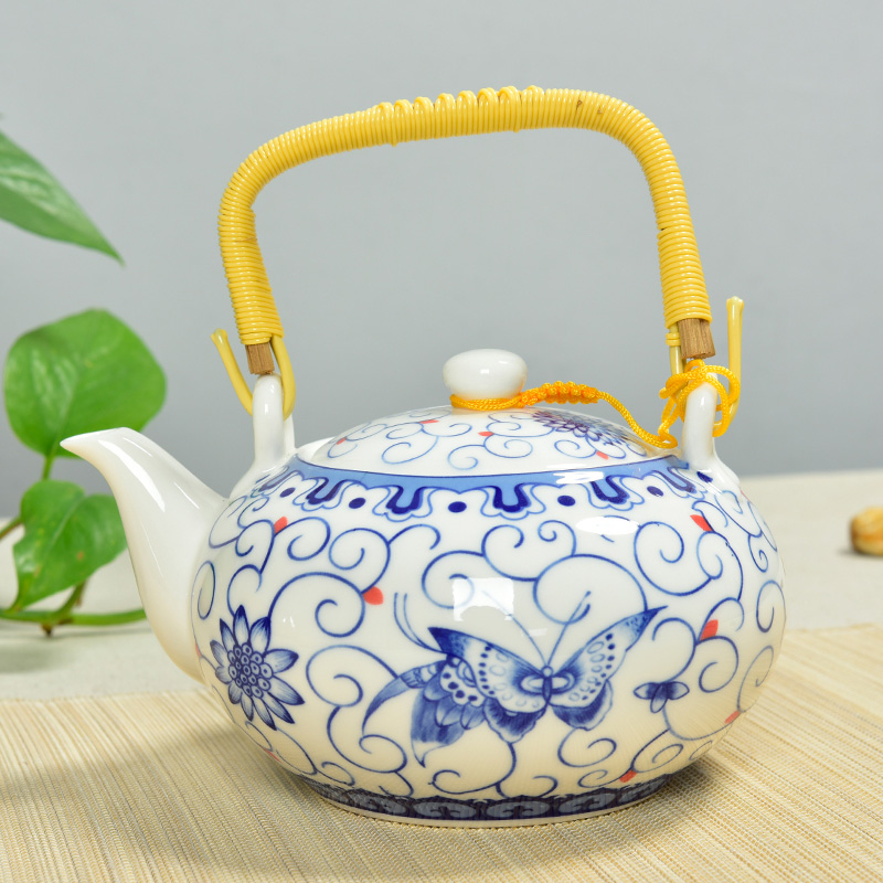 Brand ming porcelain blue and white porcelain teapot gantry pot large ceramic kung fu tea pot teapot kettle large capacity portable retro