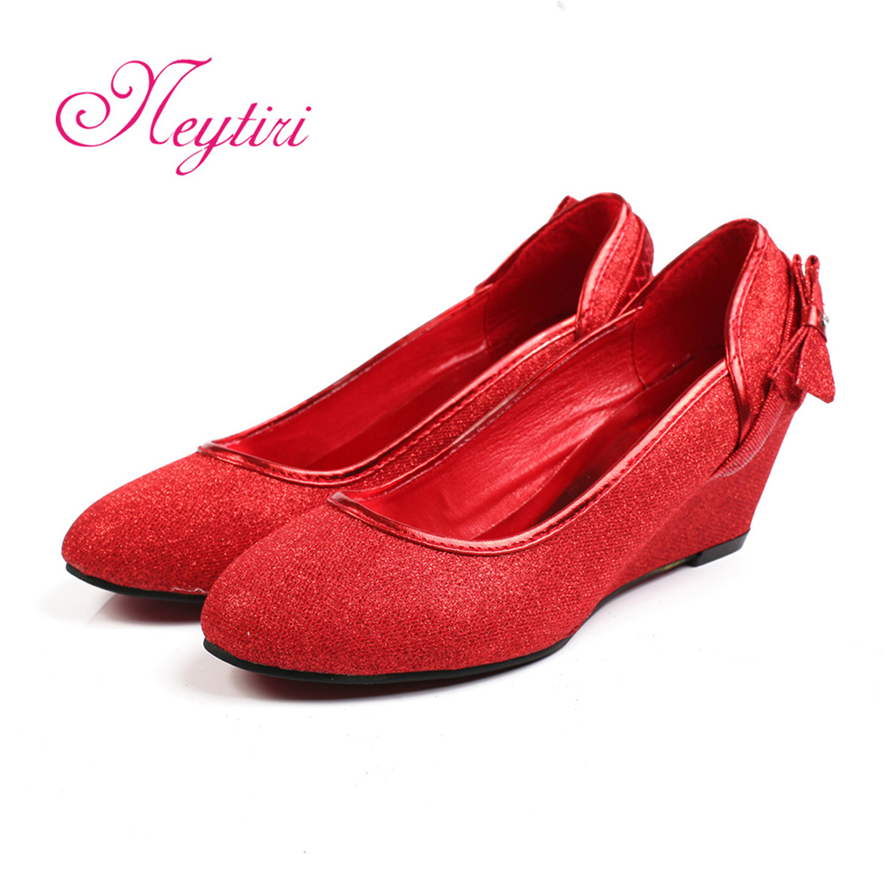 Bridal wedding shoes wedding shoes red and gold dress shoes wedding shoes bridal shoes flash bright and comfortable wedges