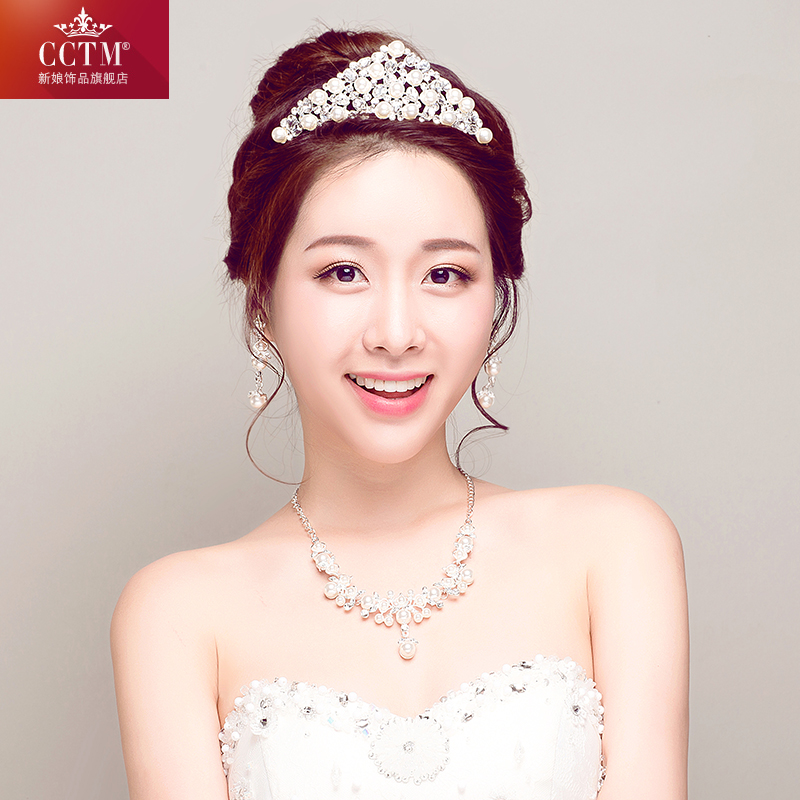Bridal wedding tiara crown rhinestone necklace earrings wedding jewelry fashion pearl korean three sets of accessories