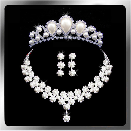 Bride wedding suit wedding dress wedding crown necklace pearl headdress hair accessories rhinestone necklace earring sets
