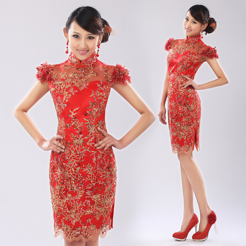 Bride wedding toast cheongsam dress red cheongsam dress short cheongsam improved cheongsam fashion cheongsam