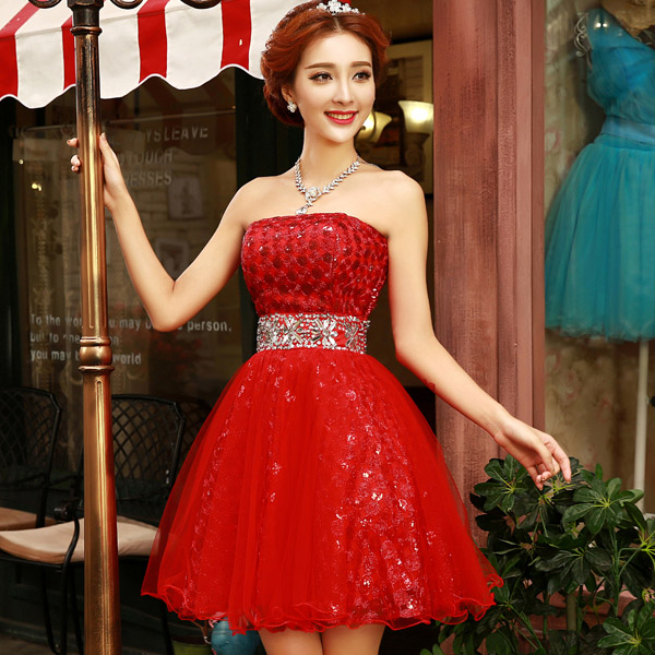 Bride wedding toast clothing evening dress 2016 new bride dress red wedding dress short paragraph toast ceremony