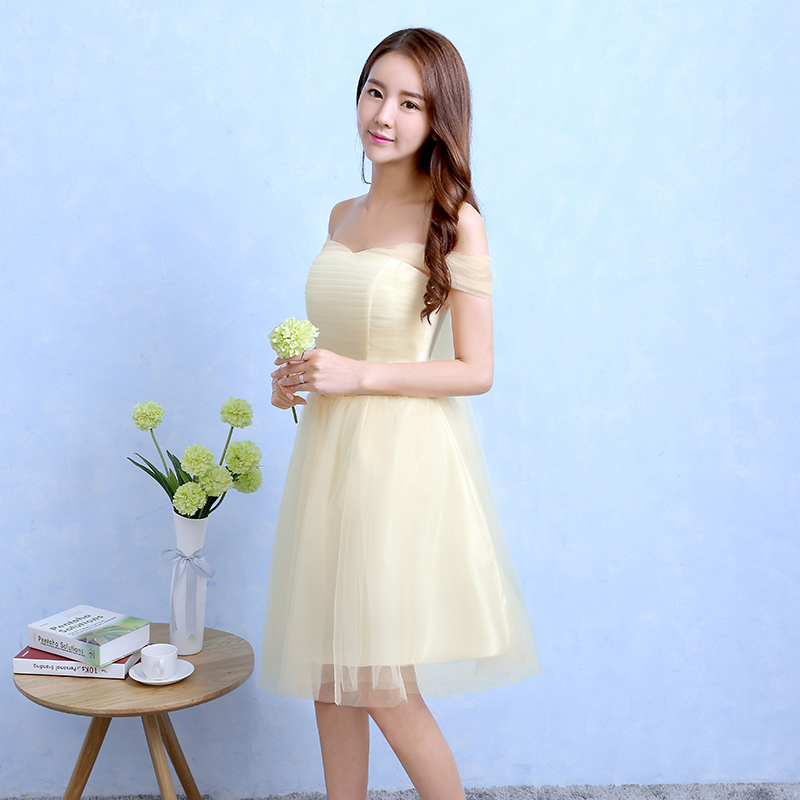 Bridesmaid dress new 2016 autumn small ceremony dress skirt sister group bridesmaid dress short paragraph bridesmaid dress tutu skirt champagne