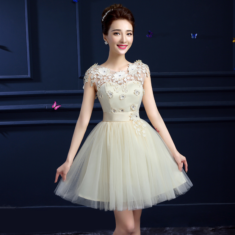 Bridesmaid dresses champagne bridesmaid dress skirt 2016 new spring and summer shoulder sister group bridesmaid dress short paragraph evening dress