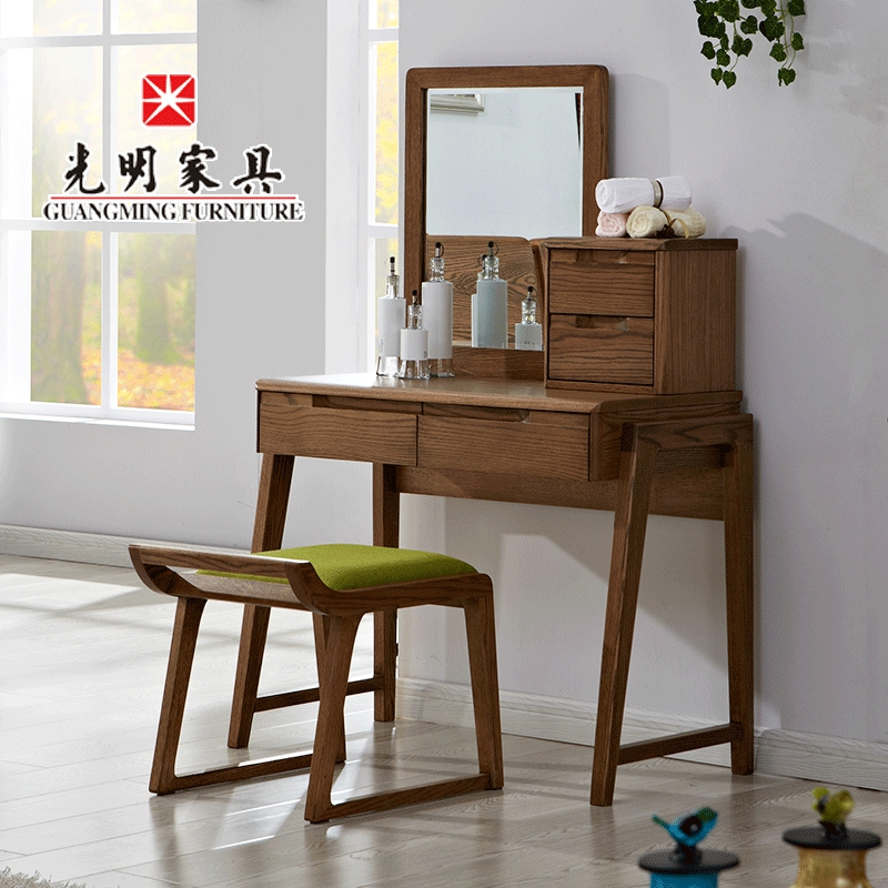 Bright furniture scandinavian minimalist modern solid wood dresser vanity benches combination of imported red oak dressing table