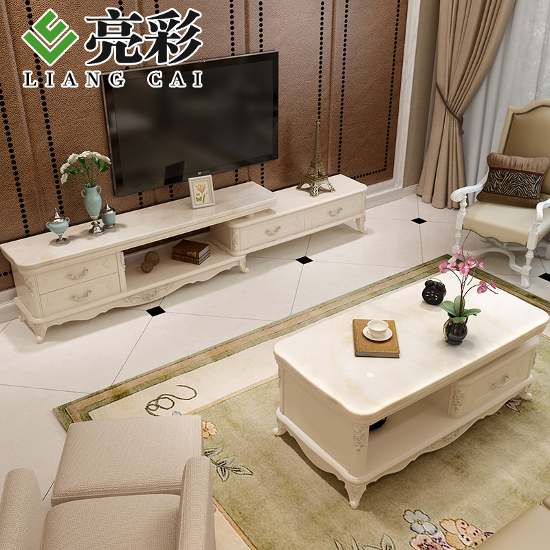 Brightly colored french coffee table tv cabinet tv cabinet continental combination living room combo kit retractable tv cabinet coffee table suits