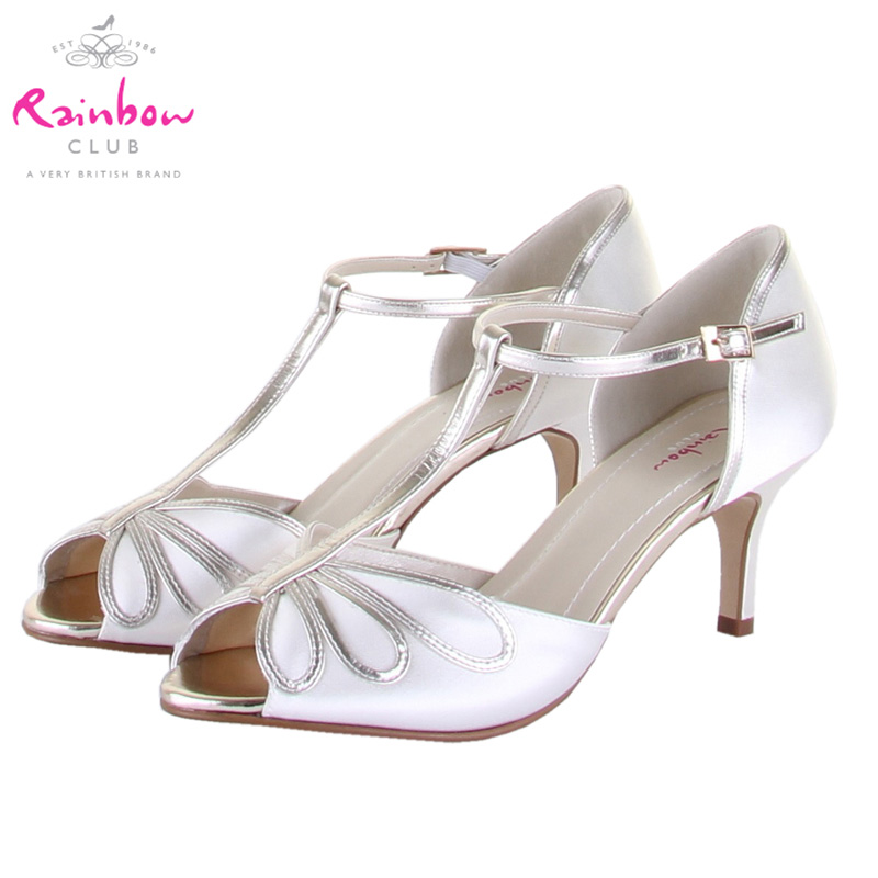 British direct mail rainbow club hello ivory open toe high heels wedding shoes women shoes bridal shoes satin surface 6.25 cm