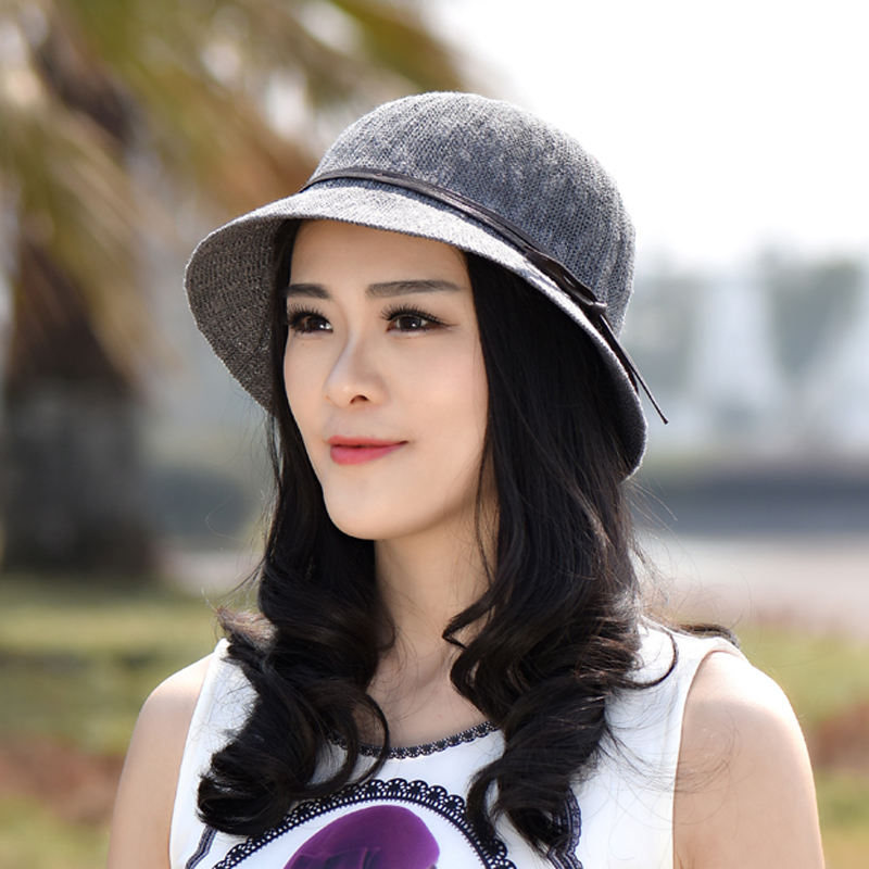 British european and american female spring and autumn jazz hat straw hat summer hat bow bucket hats bucket hats sun snow