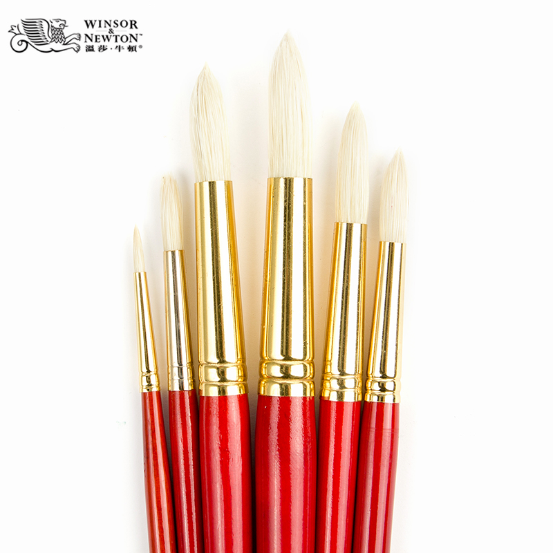 British windsor newton oil paints red lever round bristle brush painting acrylic gouache brushes single branch