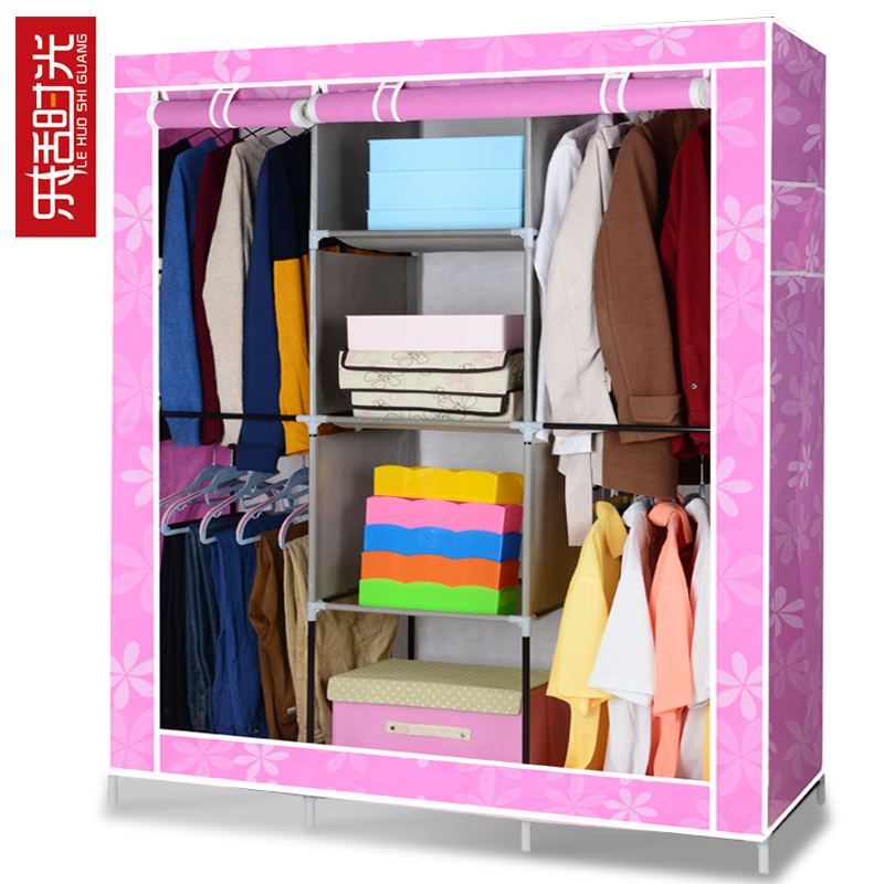 Broadwood time simple wardrobe cloth wardrobe closet queen thick assembled folding wardrobe closet shipping deals