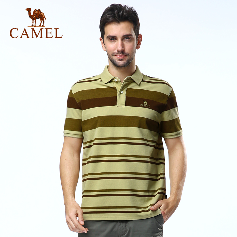 [Broken code clearance] camel outdoor short sleeve t-shirt spring and summer and comfortable striped cotton t-shirt lapel casual men's short sleeve t