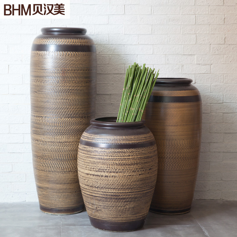 Brown ceramic floor vases chinese modern minimalist living room creative home decoration art software installed