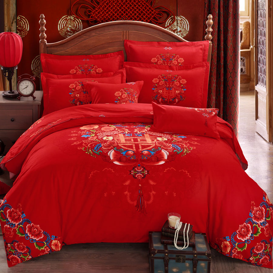 Brushed cotton denim wedding red dragon and phoenix wedding bedding linen quilt cotton denim wedding