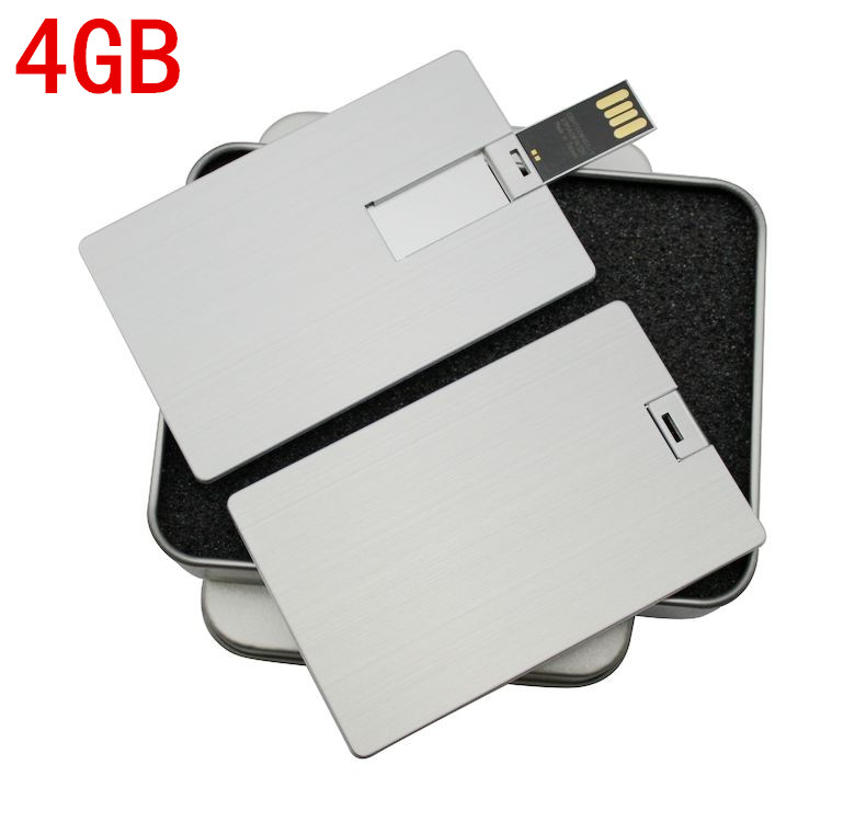 Brushed metal card u disk u disk 4 gb aluminum alloy creative personalized business gifts usb logo customized lettering