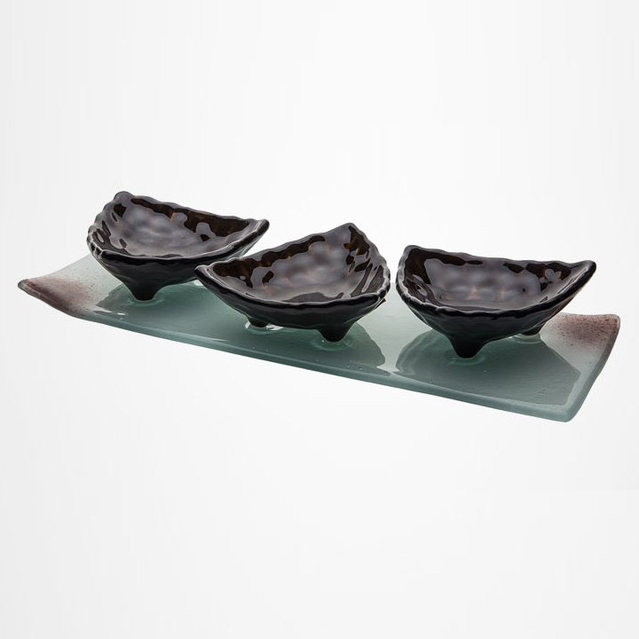 Buffet food dish snack tray | glass | glass dish snack tray kit LM-SFJ1605B