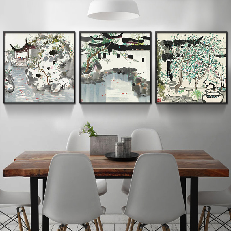 Bulgari jiangnan landscape painting new chinese paintings decorative painting the living room office three linked painting garden