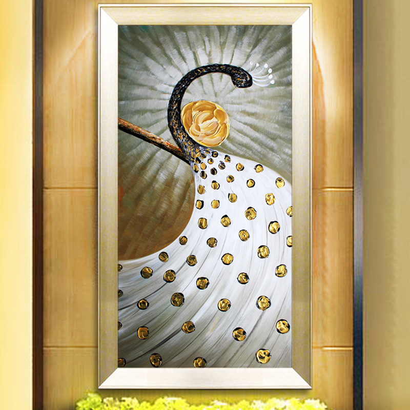Bulgari pure hand painted oil painting thick greasepaint modern stereoscopic entrance corridor decorative painting abstract oil painting peacock