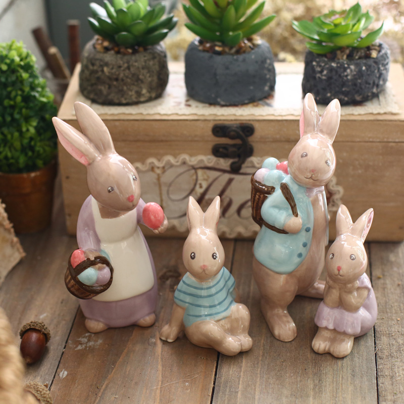 Bunny cute little fresh creative ceramic ornaments home accessories office furnishings wine off the children's room decorations