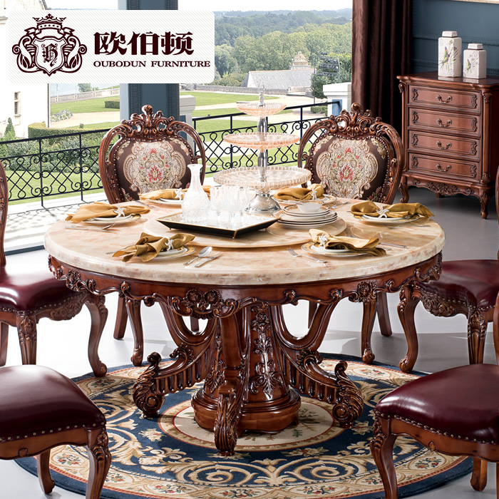 Burton europe european natural marble dining table round dining table and dining table and six chairs all solid wood american dinette combination of