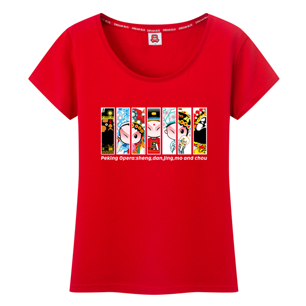 Bus dream summer new national wind peking opera messire lady cotton short sleeve t-shirt yncp 236