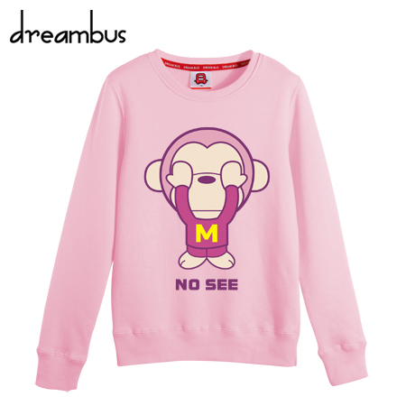 Bus dreams fall and winter clothes new korean version of the cartoon pink monkey lovers round neck cashmere sweater printing