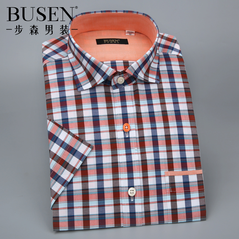 Busen/busen 2016 summer new men's casual cotton plaid short sleeve shirt men breathable shirt